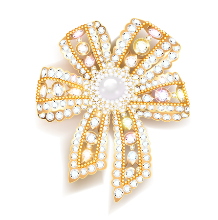 Illustration jewel brooch bow gold with precious stones