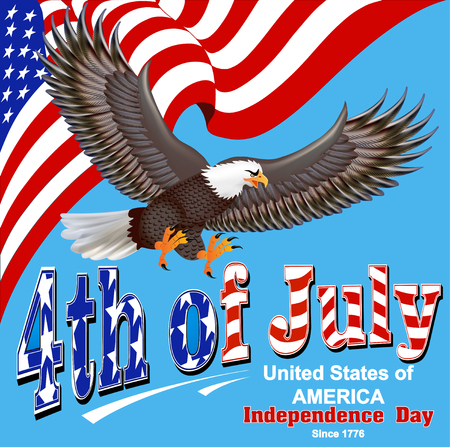 illustration of america independence day greeting card with flag and eagle Иллюстрация