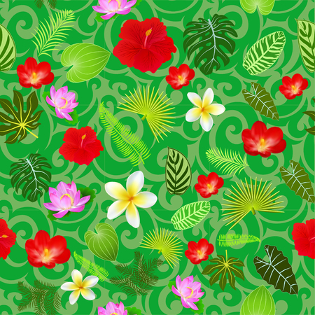 Illustration of tropical flowers and leaves seamless pattern