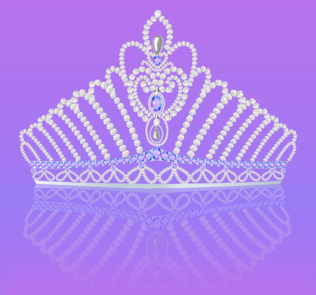 illustration of crown diadem for women wedding on bright background with reflection