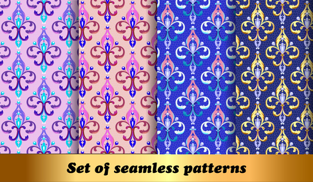 Illustration set of floral seamless patterns with Fleur de Lis and beads