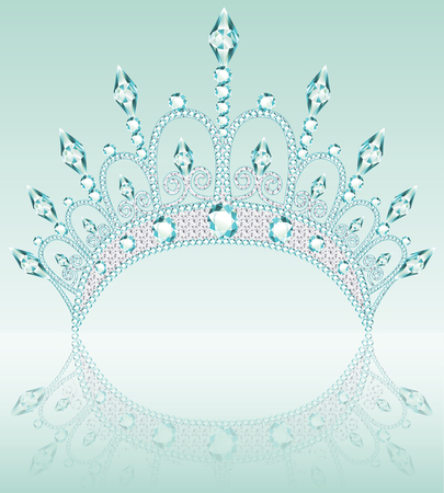 female crown diadem illustration on a light background with reflection