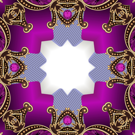 Illustration background with gems gold ornaments and stars