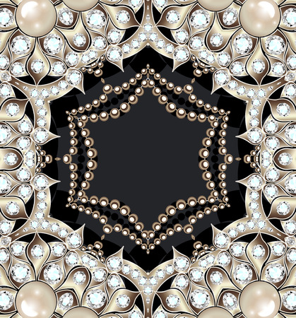 illustration of a beautiful vintage background with gems