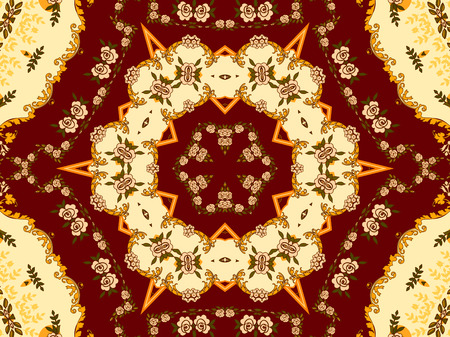 Illustration of a bright multicolored carpet with floral ornaments Imagens