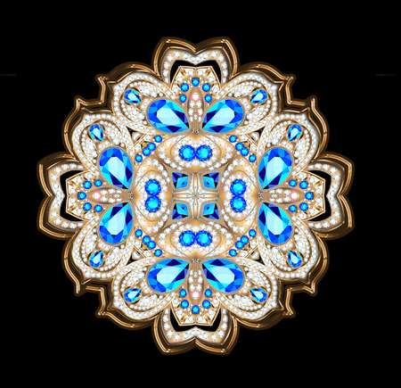An illustration of a shiny pendant brooch with precious stones. Filigree Victorian ornaments. Design element Imagens