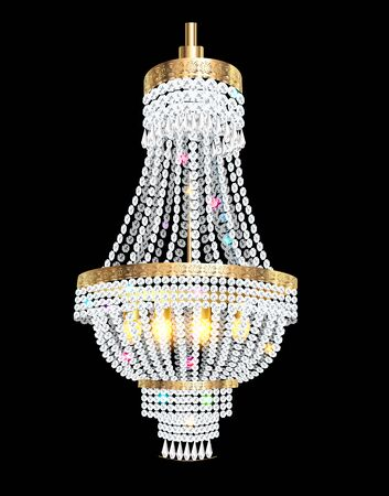 illustration of a chandelier with crystal pendants on the black 矢量图像