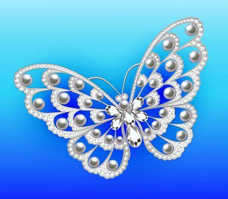 Jewelry butterfly in gems. Beautiful decoration.