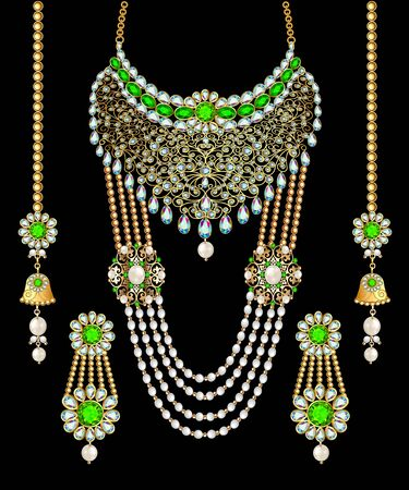 illustration set of necklace and earrings, wedding female diamond Banque d'images - 131898103