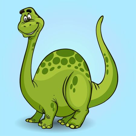 Illustration of cartoon dinosaur cheerful on light background