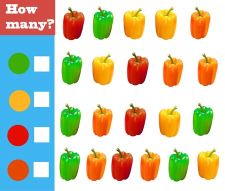 Counting game for preschool children. Educational math game. Count how many vegetables of different colors and record the result! Vektoros illusztráció