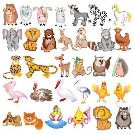 Illustration set of cartoon animals with cow, sheep, goat, lion, pig, zebra, kangaroo, hedgehog, heron, elephant, wolf, dog, cat and jaguar Vectores
