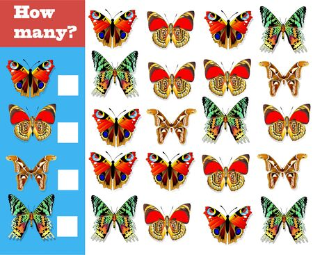 Counting game for preschool children. Educational math game. Count how many different butterflies and write down the result!