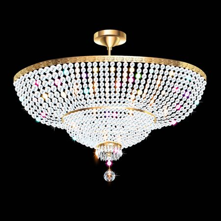 Illustration of a beautiful crystal chandelier on a dark background