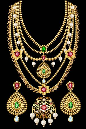 ensemble d'illustrations de collier et boucles d'oreilles, diamant féminin de mariage