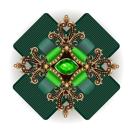 brooch jewelry, design element.  Geometric vintage ornamental background. Zdjęcie Seryjne - 131893461
