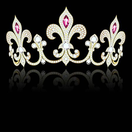 Illustration of a crown, diadem of gold and precious stones in the shape of a fleur de lis with reflection Иллюстрация