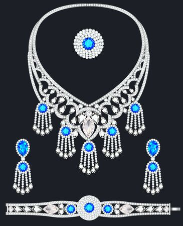 Illustration of jewelry set bracelet earrings and necklace with precious stones.