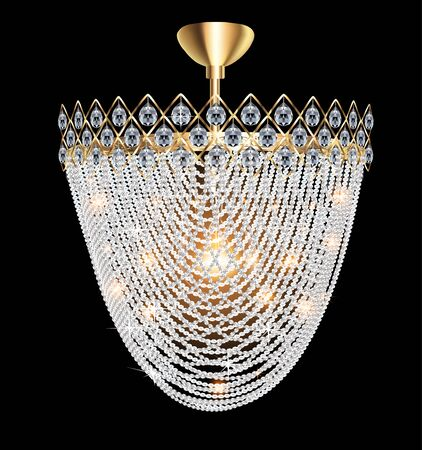 Illustration of a beautiful luminous crystal chandelier on a dark background Ilustracja