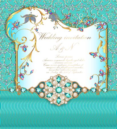 Illustration wedding invitation with gold ornaments and precious stones. Иллюстрация