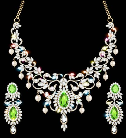 illustration set of necklace and earrings, wedding female diamond and emerald Banque d'images - 131893210
