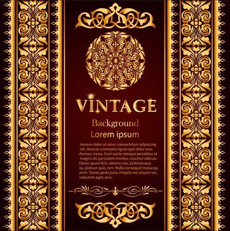 afbeelding achtergrond frame met gouden patroon