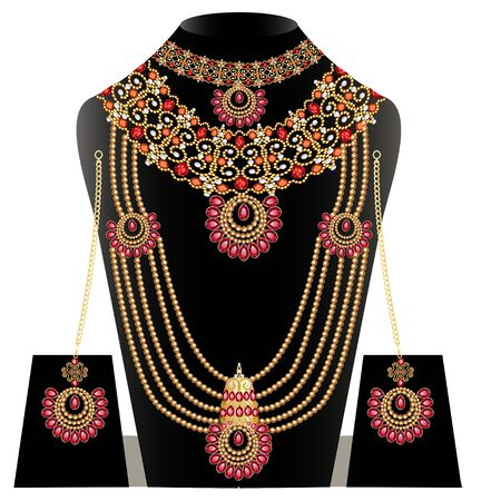 illustration set of necklace and earrings, wedding female diamond Banque d'images - 131891723