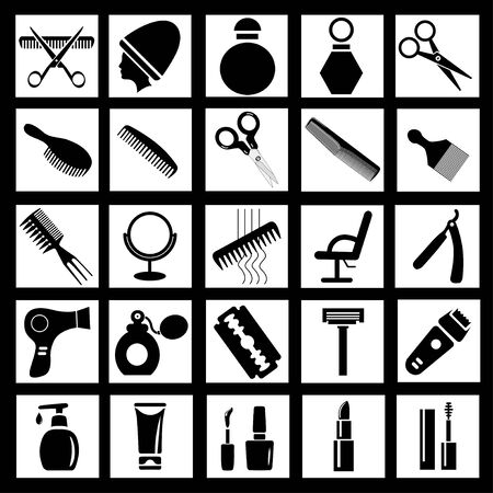 Illustration set of simple icons for barber or beauty salon combs, scissors, hairdryer, razors, cosmetics Çizim
