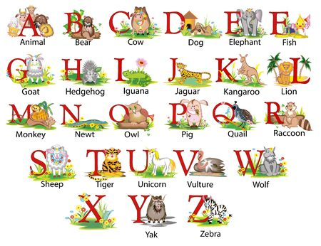 Illustration of a childrens cartoon english alphabet with animals on each letter  Stock Illustratie