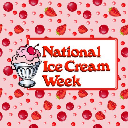 Illustration poster national week ice cream with popsicles and strawberries and cherries