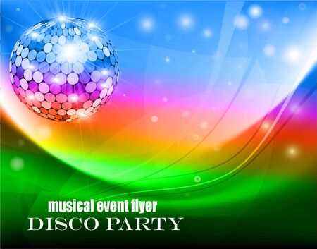 Illustration of a music flyer about a disco party with waves, fireflies and disco ball.