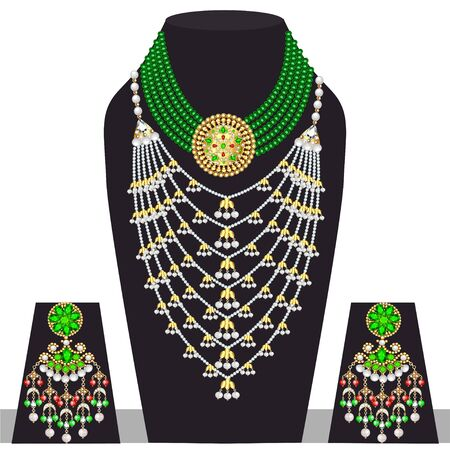 Illustration set of indian  wedding necklace and earrings Zdjęcie Seryjne - 131891744