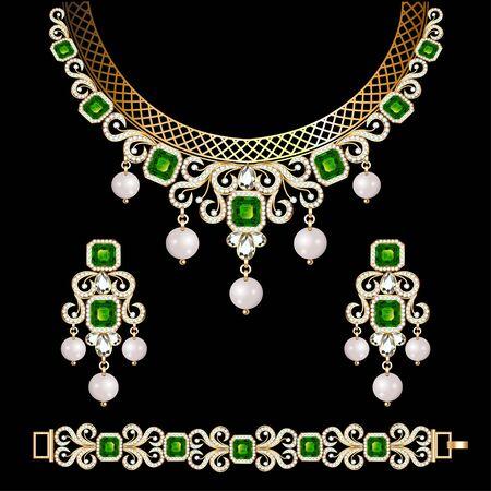 Ilustración del conjunto de joyas, aretes de pulsera y collar con piedras preciosas. Ilustración de vector