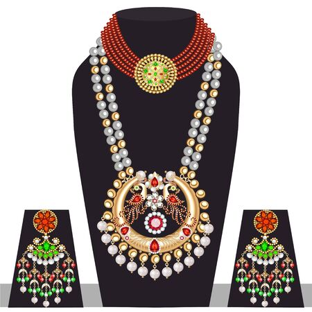 Illustration set of indian peacock wedding necklace and earrings Ilustracja