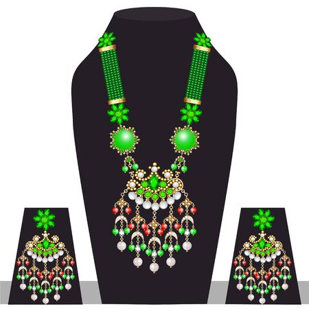 Illustration set of indian  wedding necklace and earrings Banque d'images - 131891751