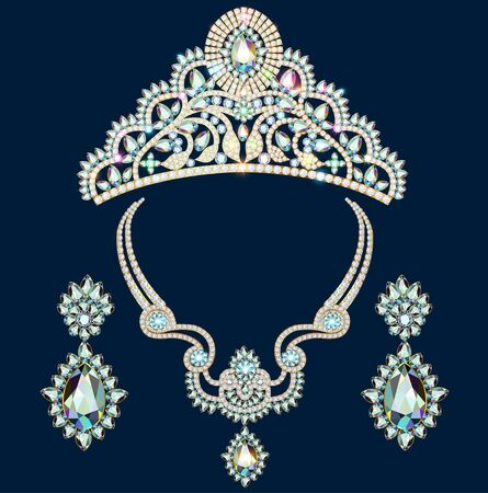 Illustration of a set of brilliant jewelery diadem, necklace and earrings with precious stones