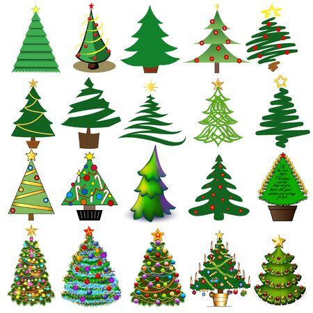 Illustration set of Christmas and New Year trees in different techniques with toys and gifts.