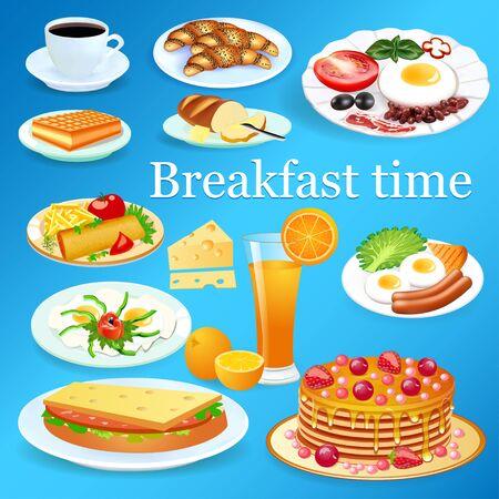 Illustration of a set of breakfast dishes with coffee and orange juice. Vektoros illusztráció