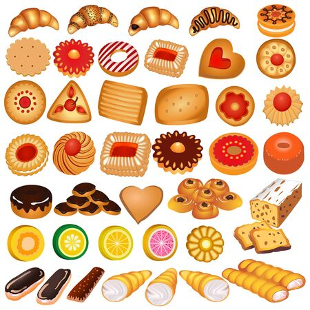 Illustration set of gingerbread cookies and croissants. Ilustrace