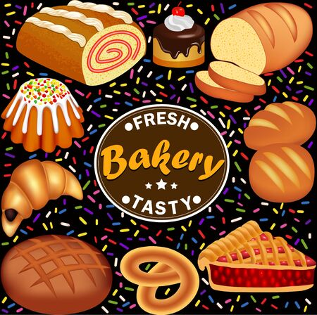 Illustration set of fresh, tasty pastries with roll, loaf, pie, cake, pretzel and croissant.