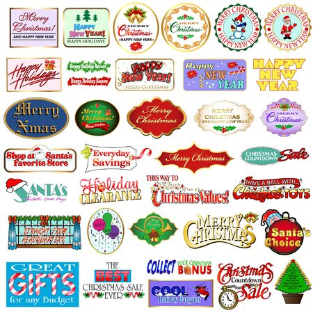Illustration Set of Christmas and New Year Labels, Badges, Congratulations, Sales Announcements.