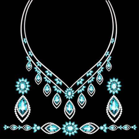 Illustration des boucles d'oreilles et du collier de bracelet de bijoux avec des pierres précieuses. Vecteurs