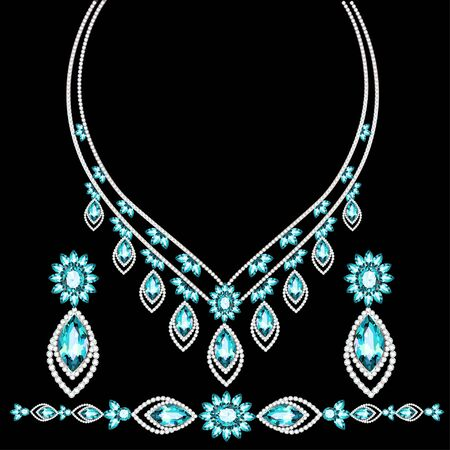 Illustration of jewelry set bracelet earrings and necklace with precious stones. Vetores