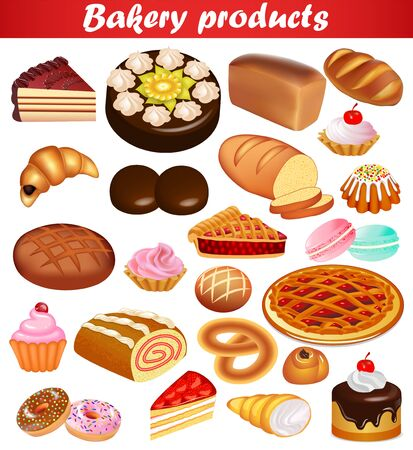 Illustration set baking with bread, loaf, pie, cake, donuts and croissants.