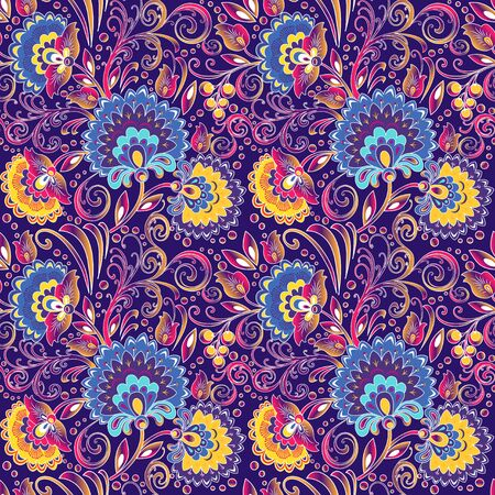 illustration seamless background painted with flowers and berries Çizim