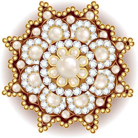 brooch jewelry, design element. Tribal ethnic floral pattern mandala round with precious stones. Geometric vintage ornamental background. Ilustración de vector