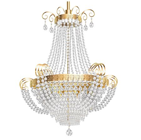 Illustration of a chandelier with crystal pendants on a white background Ilustracje wektorowe