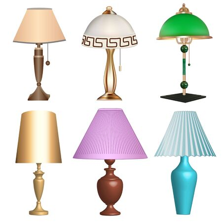 Illustration of a set of table lamps fixtures  on a white background 일러스트