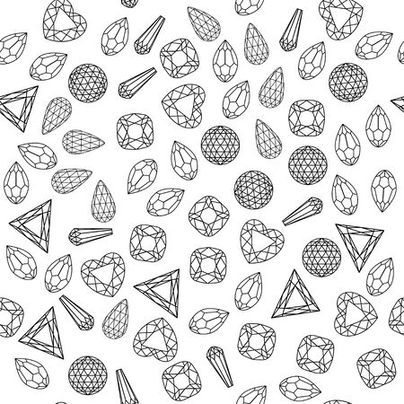 Illustration seamless background of different shapes and cut precious stones.