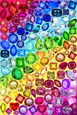 Illustration of a rainbow background with precious stones in different colors of shapes and cuts.
